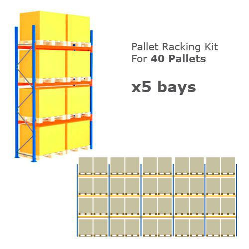 Pallet Racking Kit - Holds 40 Pallets - Sized (H) 1000 x (W) 1200 x (D) 1000