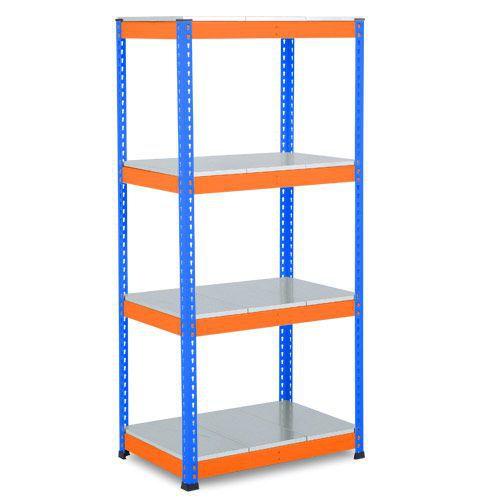 Rapid 1 Heavy Duty Shelving (1980h x 915w) Blue & Orange - 4 Galvanized Shelves