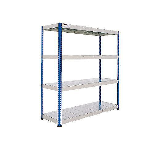 Rapid 1 Heavy Duty Shelving (1980h x 1220w) Blue & Grey - 4 Galvanized Shelves