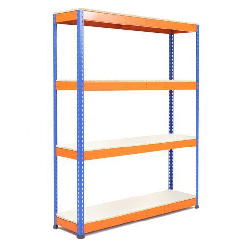 Rapid 1 Heavy Duty Shelving (1980h x 1220w) Blue & Orange - 4 Melamine Shelves