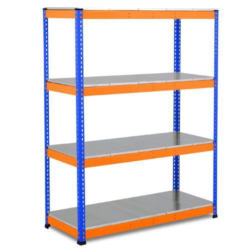 Rapid 1 Heavy Duty Shelving (1980h x 1525w) Blue & Orange - 4 Galvanized Shelves