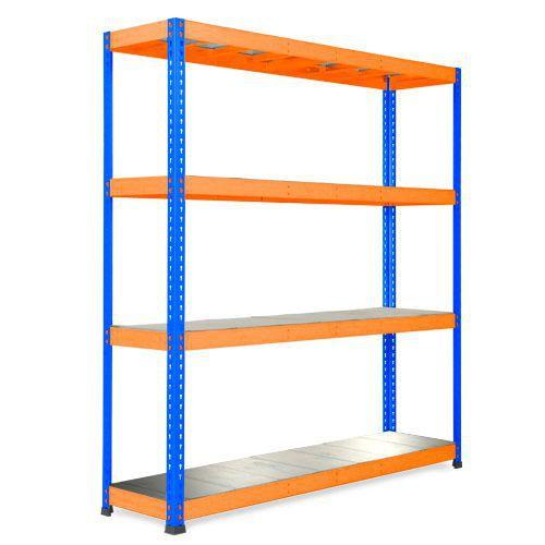 Rapid 1 Heavy Duty Shelving (1980h x 1830w) Blue & Orange - 4 Galvanized Shelves