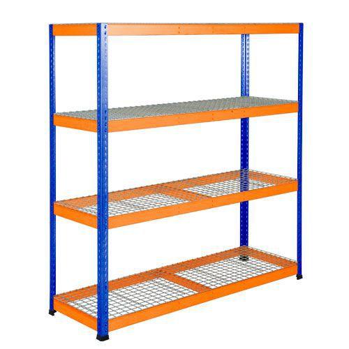 Rapid 1 Heavy Duty Shelving (1980h x 1830w) Blue & Orange - 4 Wire Mesh Shelves