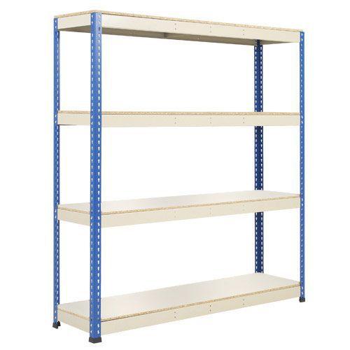 Rapid 1 Heavy Duty Shelving (1980h x 1830w) Blue & Grey - 4 Melamine Shelves