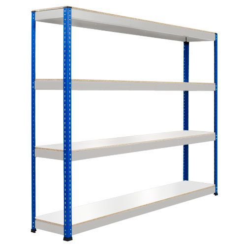 Rapid 1 Heavy Duty Shelving (1980h x 2134w) Blue & Grey - 4 Melamine Shelves