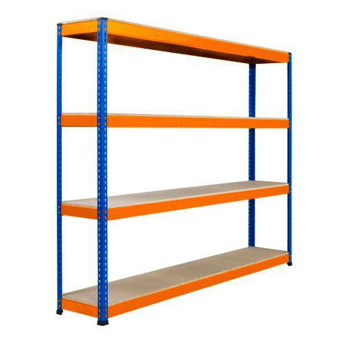 Rapid 1 Heavy Duty Shelving (1980h x 2134w) Blue & Orange - 4 Chipboard Shelves