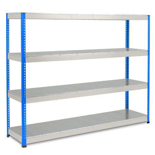 Rapid 1 Heavy Duty Shelving (1980h x 2440w) Blue & Grey - 4 Galvanized Shelves