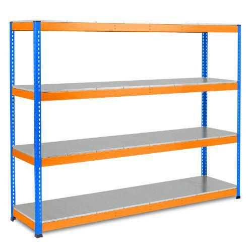 Rapid 1 Heavy Duty Shelving (1980h x 2440w) Blue & Orange - 4 Galvanized Shelves