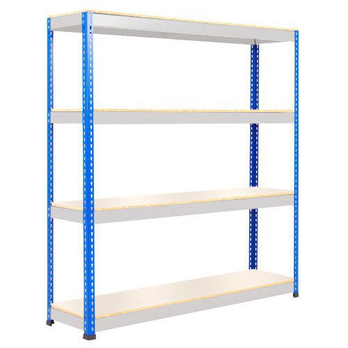 Rapid 1 Heavy Duty Shelving (2440h x 1525w) Blue & Grey - 4 Melamine Shelves