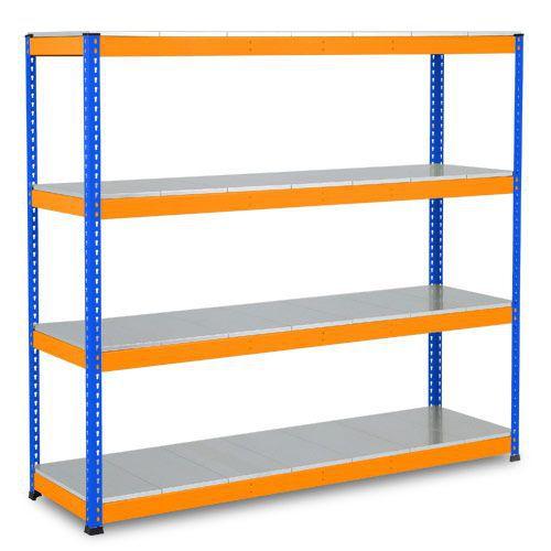 Rapid 1 Heavy Duty Shelving (2440h x 1525w) Blue & Orange - 4 Galvanized Shelves