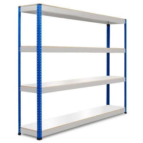 Rapid 1 Heavy Duty Shelving (2440h x 2440w) Blue & Grey - 4 Melamine Shelves