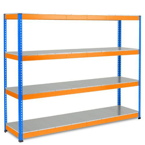 Rapid 1 Heavy Duty Shelving (2440h x 2440w) Blue & Orange - 4 Galvanized Shelves