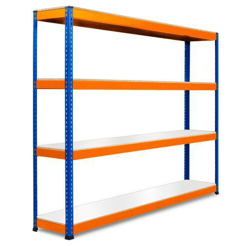 Rapid 1 Heavy Duty Shelving (2440h x 2440w) Blue & Orange - 4 Melamine Shelves
