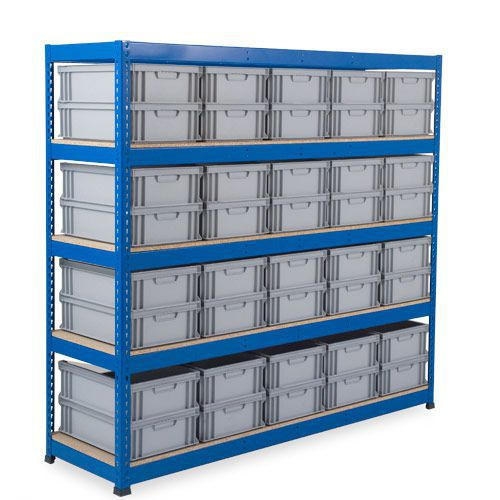 Rapid 1 Shelving (2134w x 610d) With Solid Euro Containers