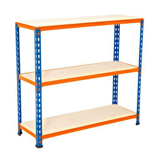 Rapid 2 Shelving (915h x 915w) Blue & Orange - 3 Chipboard Shelves