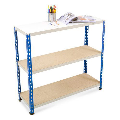 Rapid 2 Shelving (990h x 915w) Blue & Grey - 3 Chipboard Shelves