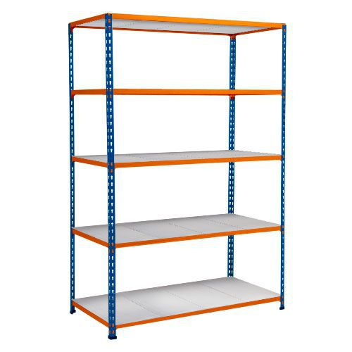 Rapid 2 Shelving (1600h x 1220w) Blue & Orange - 5 Galvanized Shelves