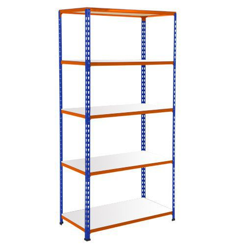 Rapid 2 Shelving (1600h x 915w) Blue & Orange - 5 Galvanized Shelves