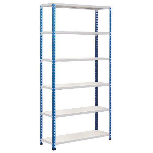 Rapid 2 Shelving (1600h x 915w) Blue & Grey - 6 Melamine Shelves