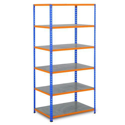 Rapid 2 Shelving (1600h x 915w) Blue & Orange - 6 Galvanized Shelves