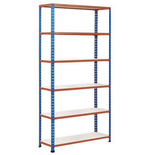 Rapid 2 Shelving (1600h x 915w) Blue & Orange - 6 Melamine Shelves