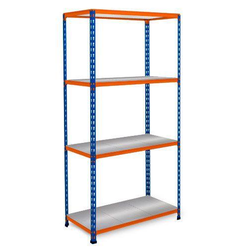 Rapid 2 Shelving (1600h x 915w) Blue & Orange - 4 Galvanized Shelves