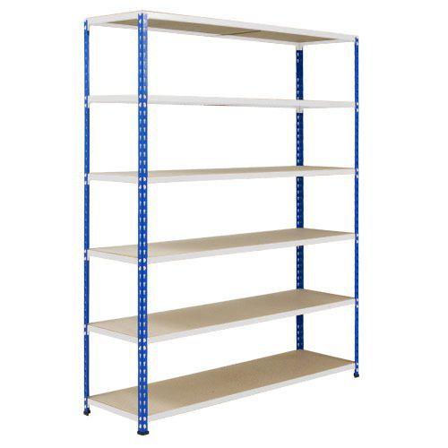 Rapid 2 Shelving (1600h x 1220w) Blue & Grey - 6 Chipboard Shelves