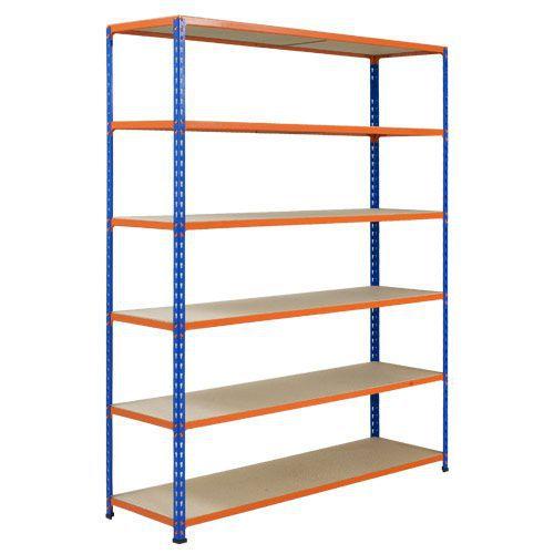 Rapid 2 Shelving (1600h x 1220w) Blue & Orange - 6 Chipboard Shelves