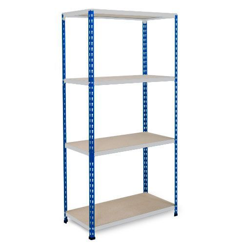 Rapid 2 Shelving (1600h x 1220w) Blue & Grey - 4 Chipboard Shelves