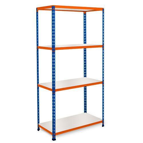 Rapid 2 Shelving (1600h x 1220w) Blue & Orange - 4 Melamine Shelves