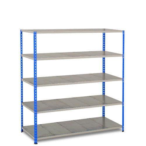 Rapid 2 Shelving (1600h x 1525w) Blue & Grey - 5 Galvanized Shelves