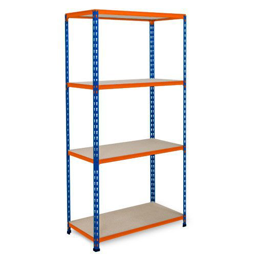 Rapid 2 Shelving (1600h x 1525w) Blue & Orange - 5 Chipboard Shelves