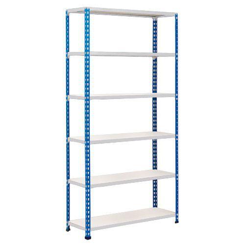 Rapid 2 Shelving (1600h x 1525w) Blue & Grey - 6 Chipboard Shelves