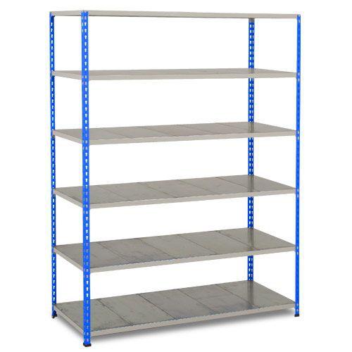 Rapid 2 Shelving (1600h x 1525w) Blue & Grey - 6 Galvanized Shelves