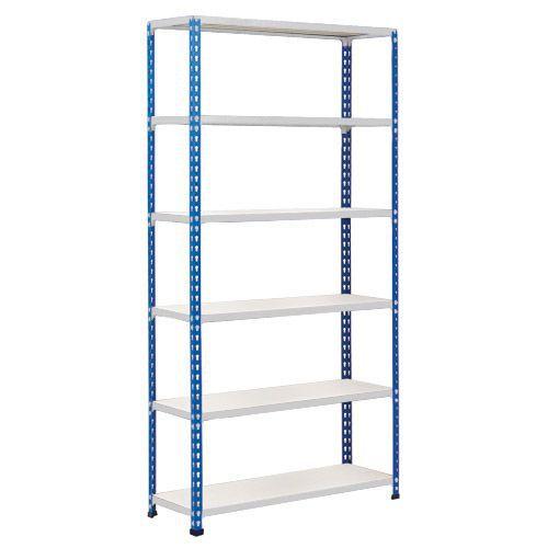 Rapid 2 Shelving (1600h x 1525w) Blue & Grey - 6 Melamine Shelves