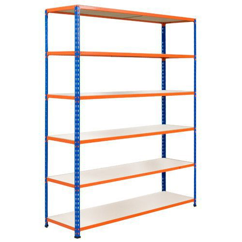 Rapid 2 Shelving (1600h x 1525w) Blue & Orange - 6 Melamine Shelves