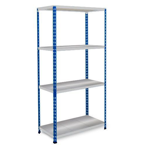 Rapid 2 Shelving (1600h x 1525w) Blue & Grey - 4 Galvanized Shelves