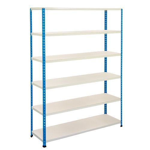 Rapid 2 Shelving (1600h x 1525w) Blue & Grey - 4 Melamine Shelves