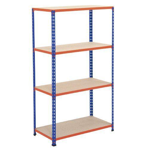 Rapid 2 Shelving (1980h x 915w) Blue & Orange - 4 Chipboard Shelves