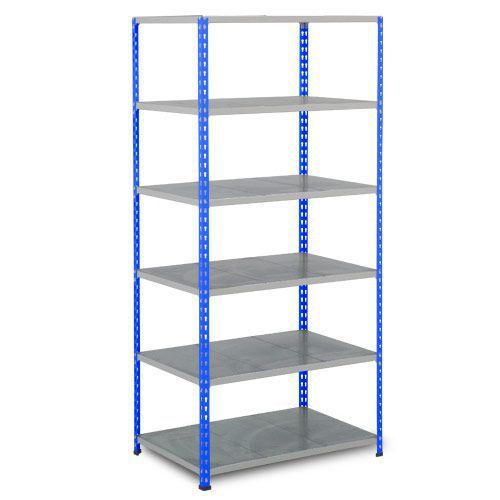 Rapid 2 Shelving (1980h x 915w) Blue & Grey - 6 Galvanized Shelves
