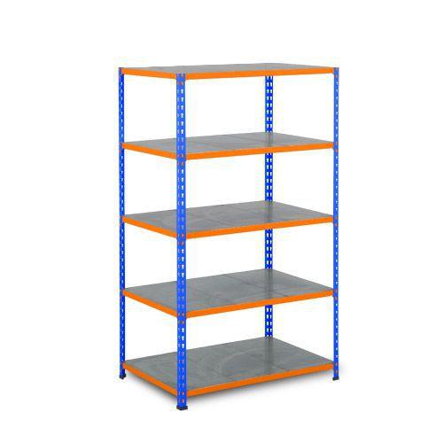 Rapid 2 Shelving (1980h x 915w) Blue & Orange - 5 Galvanized Shelves