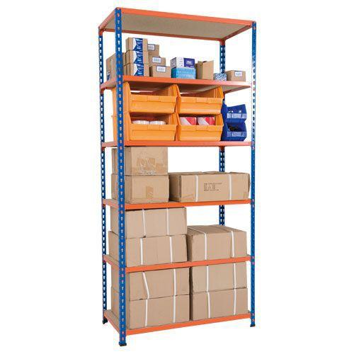 Rapid 2 Shelving (1980h x 915w) Blue & Orange - 6 Chipboard Shelves