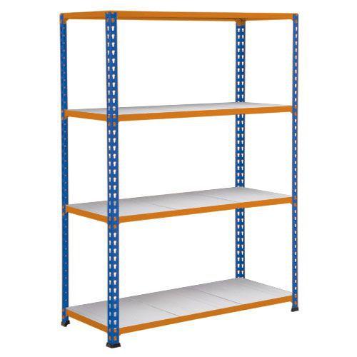 Rapid 2 Shelving (1980h x 1220w) Blue & Orange - 4 Galvanized Shelves