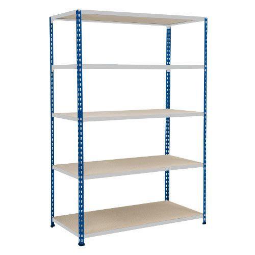 Rapid 2 Shelving (1980h x 1220w) Blue & Grey - 5 Chipboard Shelves