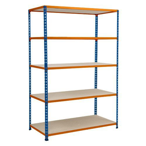 Rapid 2 Shelving (1980h x 1220w) Blue & Orange - 5 Chipboard Shelves