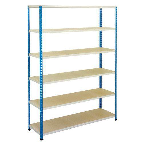 Rapid 2 Shelving (1980h x 1525w) Blue & Grey - 6 Chipboard Shelves