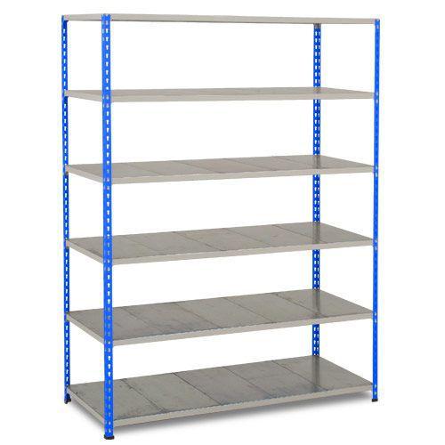 Rapid 2 Shelving (1980h x 1220w) Blue & Grey - 6 Galvanized Shelves