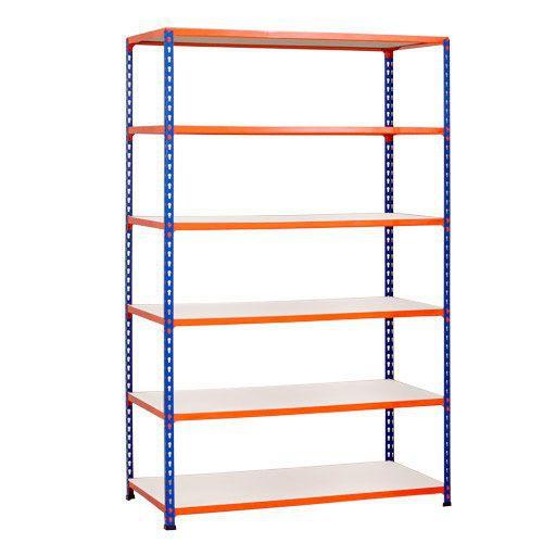 Rapid 2 Shelving (1980h x 1525w) Blue & Orange - 6 Melamine Shelves