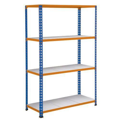Rapid 2 Shelving (1980h x 1525w) Blue & Orange - 4 Galvanized Shelves