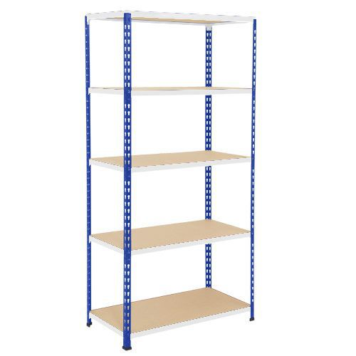 Rapid 2 Shelving (2440h x 915w) Blue & Grey - 5 Chipboard Shelves